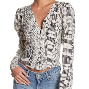NEW FREE PEOPLE Sweet On You Blouse Crop Button XS